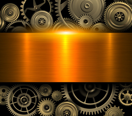 Gold background metallic with technology gears, 3D vector illustration. Illustration