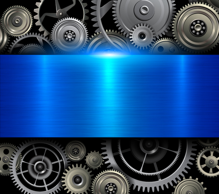 Blue background metallic with technology gears, 3D vector illustration.