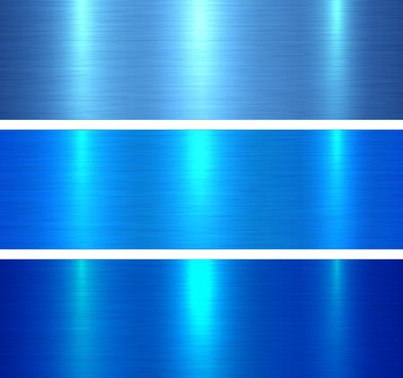 Metal textures blue, brushed metallic backgrounds vector illustration. Illustration