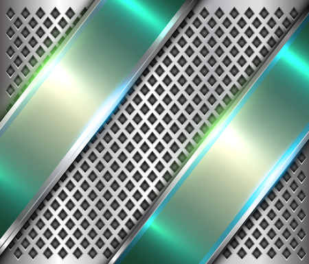 Metallic background silver green banners, polished steel texture over holes pattern, vector design. 矢量图像