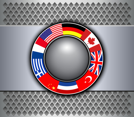 Background silver grey and button with flags around, 3D vector illustration.