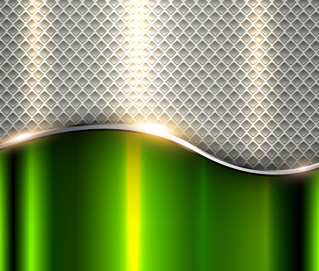 Abstract business background, elegant silver green metal vector illustration. Ilustrace