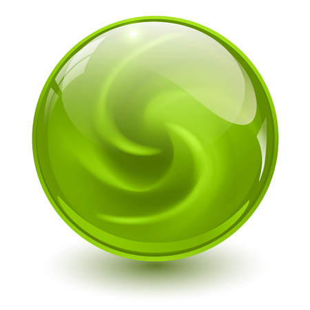 Green glass sphere, 3D marble ball, vector illustration.