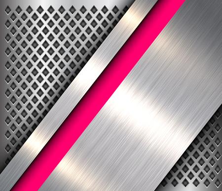 Metallic background 3D silver pink, polished steel texture over perforated background, vector design. Illusztráció