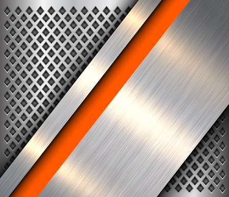 Metallic background silver orange, polished steel texture over perforated background, vector design. Illusztráció