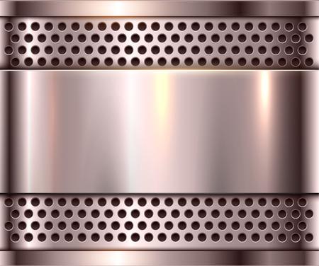 Silver metal background, shiny metallic chrome plate. Ilustrace