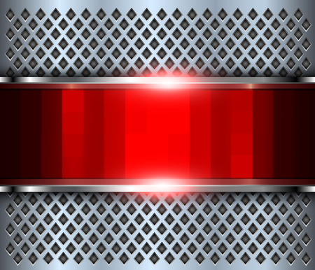 Abstract background red, 3d shiny metallic, vector illustration.