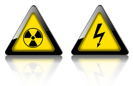 Signes de danger et d'avertissement, symboles 3D vectoriels d'urgence.