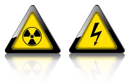 Danger and warning signs, emergency vector 3D symbols. Illustration