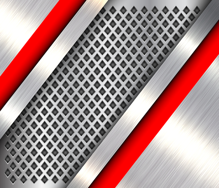 Metallic background 3D silver and red, polished steel texture over perforated background, vector design. Illusztráció