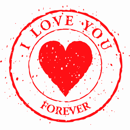 Love stamp, heart with words I love you - vector illustration