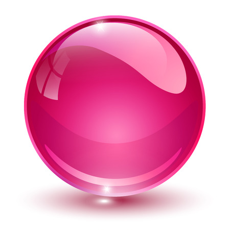 Glass sphere, pink 3D vector ball. Illustration
