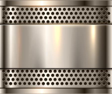 Silberner Metallhintergrund, glänzende metallische Chromplatte.
