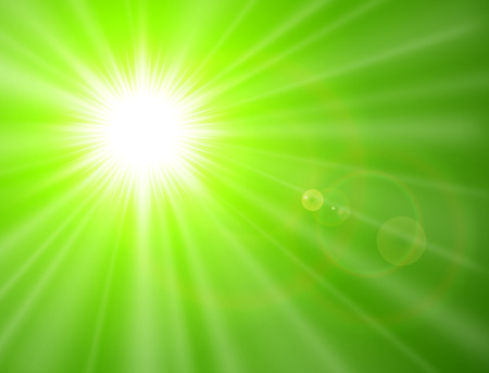 Green sunny background, sun with lens flare, vector summer design.