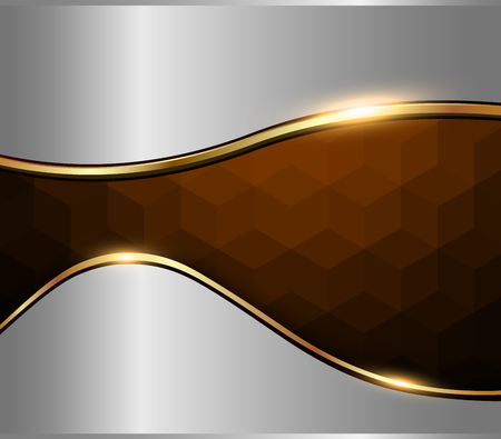 Abstract background silver brown mosaic with vector hexagons texture.