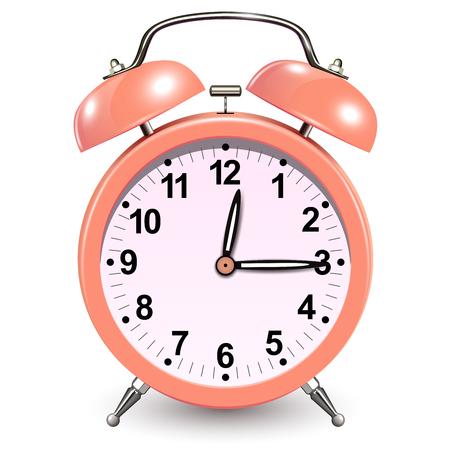 Reloj despertador color coral, vector icono 3D.