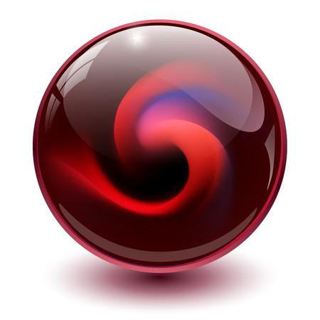 Red glass sphere, 3D marble ball, vector illustration.