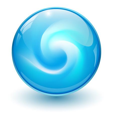 Blue glass sphere, 3D marble ball, vector illustration.