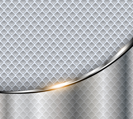 Abstract business background, elegant silver metal vector illustration. Çizim