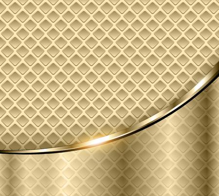 Abstract business background, elegant gold metal vector illustration. Çizim