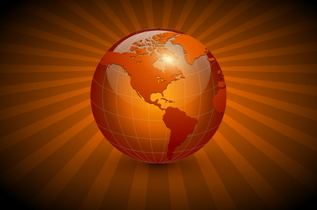 Abstract business background, orange with earth globe, vector illustration. Çizim