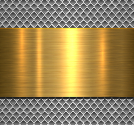 Metallic background silver polished gold texture over perforated background, vector design. Imagens - 124107928