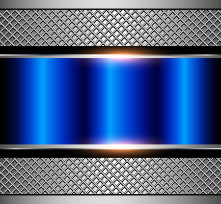 Background metallic blue with metal grid, vector illustration.