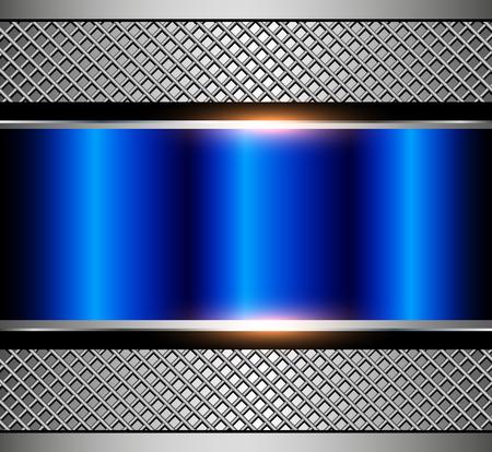 Fondo azul metálico con rejilla metálica, ilustración vectorial.