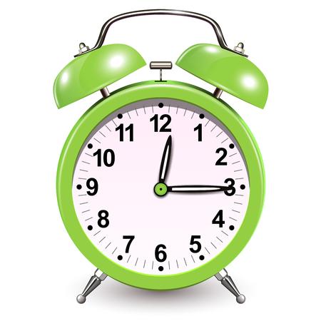 Alarm clock green, vector 3D icon.
