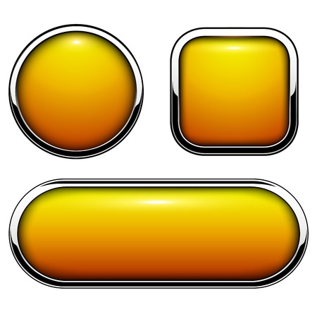 Glossy buttons orange with metallic chrome elements, vector illustration.