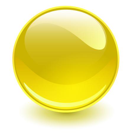 Glass sphere yellow, vector shiny ball.
