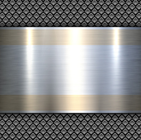Background 3d metallic banner on perforated grey pattern, vector illustration.