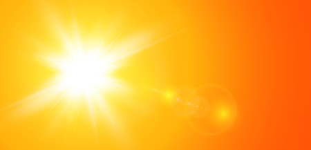 Sun with lens flare, vector nature background. Çizim