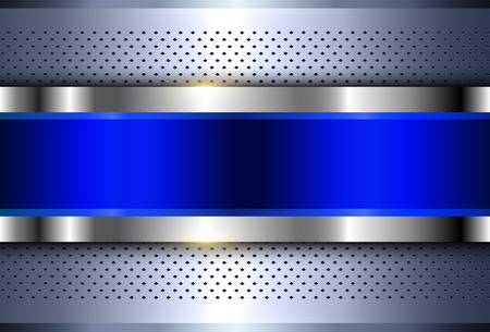 Metallic background silver blue, polished steel texture, vector design. Ilustrace
