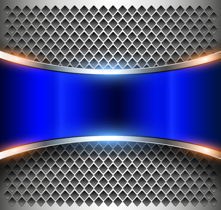 Metallic background silver blue with perforated silver pattern.