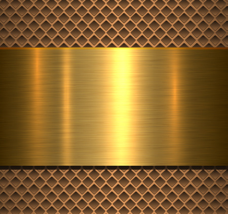 Metallic background gold polished texture over perforated background, vector design.