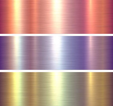 Texturas de metal brillante fondo metálico cepillado, ilustración vectorial.