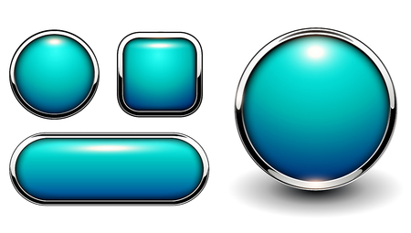 Glossy buttons blue with metallic chrome elements, vector illustration.