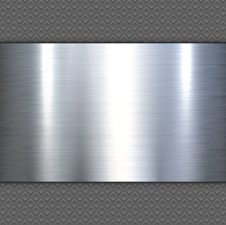 Background 3d metallic banner on seamless grey pattern, vector illustration. Çizim
