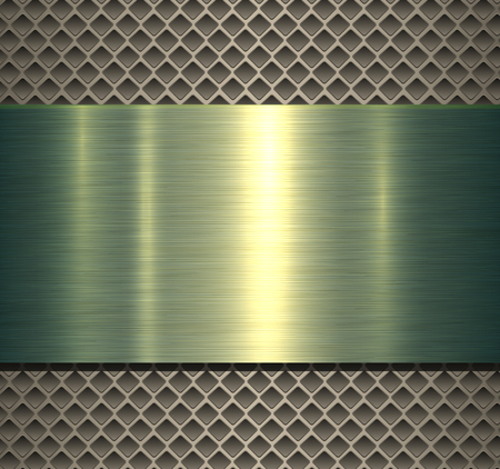 Metallic background green polished texture over perforated background, vector design.