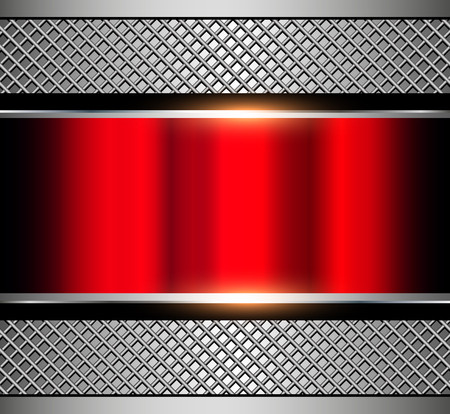 Background metallic red with metal grid, vector illustration. Vector Illustration