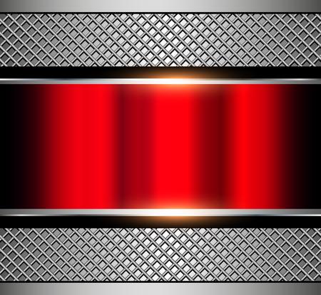Fond rouge métallique avec grille métallique, illustration vectorielle. Vecteurs
