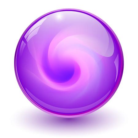 Sfera di vetro viola, sfera di marmo 3D, illustrazione vettoriale.