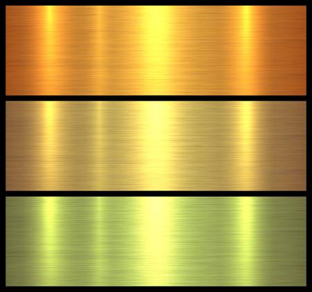 Textures métalliques fond métallique brossé or, illustration vectorielle.