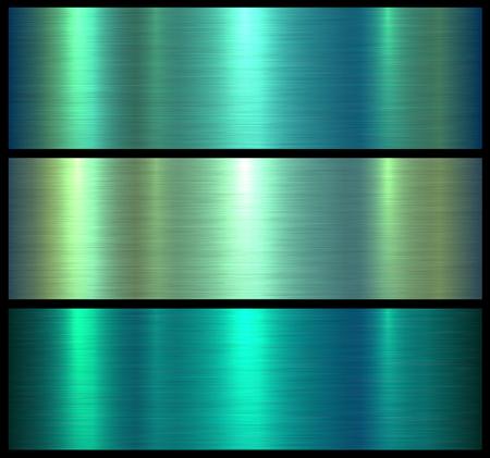 Strutture metalliche verde lucido spazzolato sfondo metallico, illustrazione vettoriale. Vettoriali