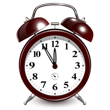 Alarm clock 3d icon with five minutes to twelve oclock.