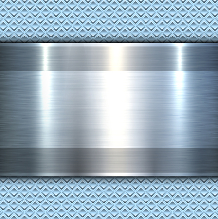 Background 3d metallic banner on perforated blue pattern, vector illustration.