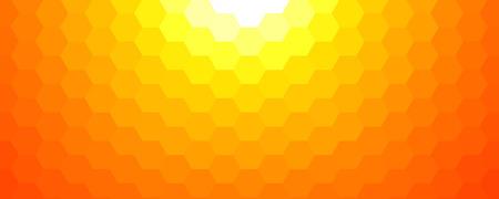 Sunny spring mosaic background, orange hexagonal pattern vector background