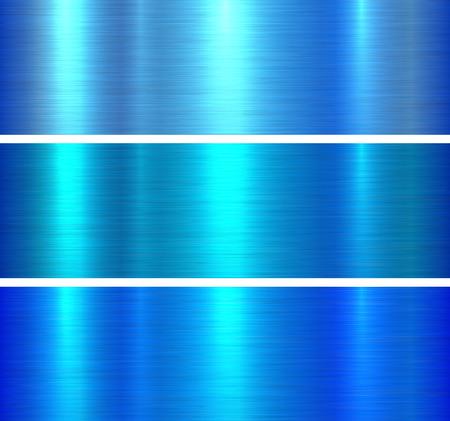 Metal textures blue brushed metallic background, vector illustration.