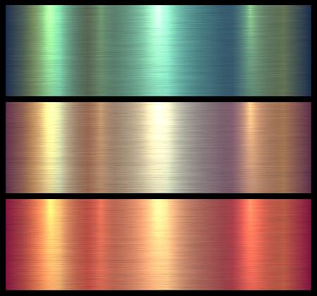 Metal textures shiny brushed metallic background, vector illustration.